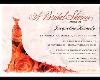 Wedding dress silhouette Bridal Shower Invitation, printable file