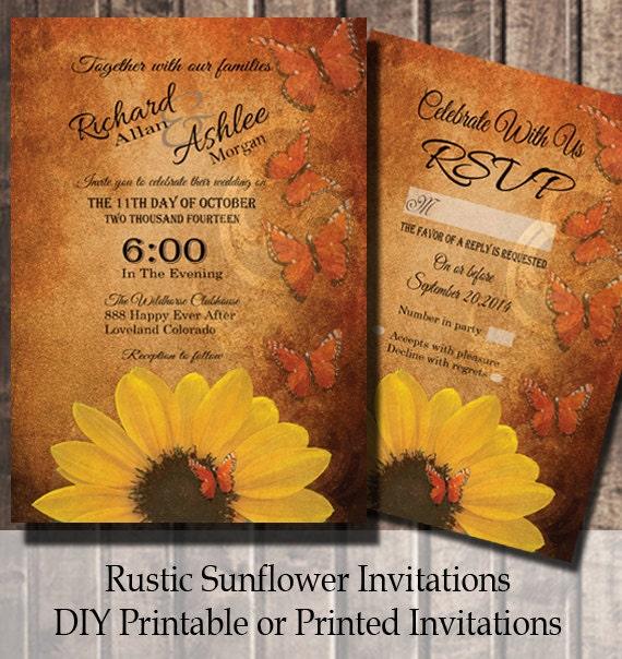 Sunflower Wedding Invitation Rustic Country Invitations with – Sunflower Wedding Invites