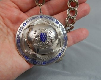Vintage Heraldic Crest Necklace - Bretagne a Ma Vie - with Royal Blue Enamel High Domed Style on Heavy Link Chain, 1950s