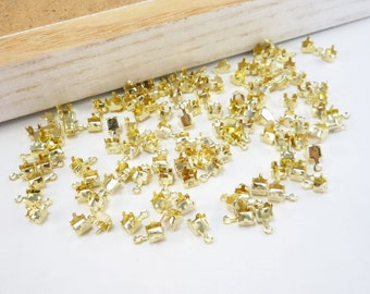 Gold Rhinestone Chain Cup Connectors, Crimp Connector, Jewelry Findings, 4mm