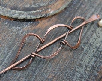 """Hair slide, hair stick, hair pin oxidized copper and pearl hair barrette """"Locking vines"""""""