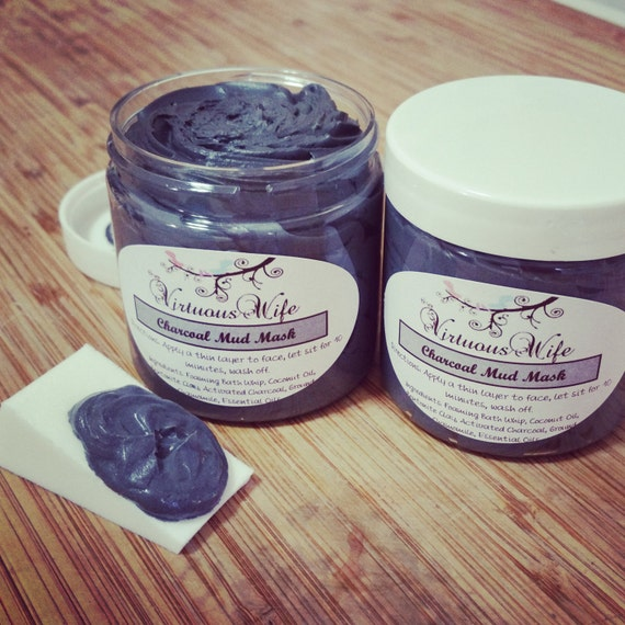 Bentonite Clay And Activated Charcoal Face Mask: Charcoal And Clay Mud Mask By VirtuousWifeBoutique On Etsy