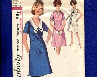 1960's Simplicity 5825 Retro Semi Fitted A-Line Dress with Long Pointed Collar Size 16