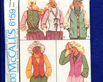 1970's McCalls 6159 Fitted & Loose Fitting Vests Size 6..8..10 UNCUT