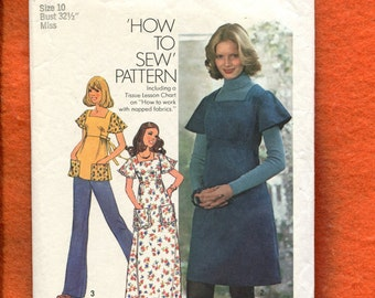 1970's Simplicity 7037 Flutter Sleeve Country Empire Dress Size 10