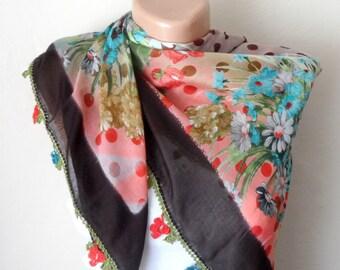brown scarf green  flower red blue white cream cotton turkish yemeni oya handmade
