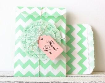 Mint Green Chevron Party Bags, Chevron Favor Bag, Mint Chevron Paper Bag, Mint Paper Bag, Mint Wedding Decor, Mint Party Bag, Mint Favor Bag