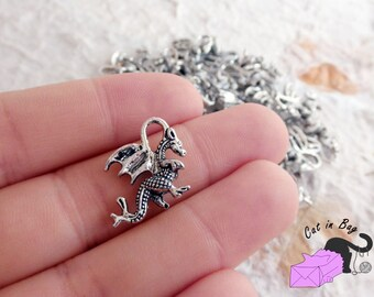 6 Charms with Dragon - antique silver tone - 21x14 mm - SP59