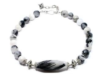 Tourmalinated Quartz Necklace - Black Rutile Necklace - Black White Beaded Gemstone Necklace - Statement Choker Necklace - Minimalist
