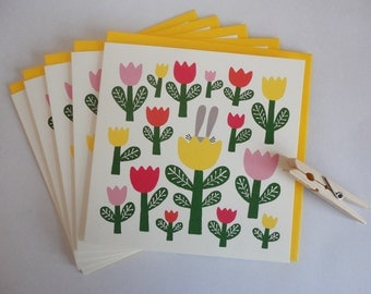 5 Greeting cards RABBIT