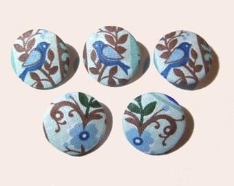 """Fabric buttons, cloth buttons, 1"""" 5's, medium size buttons, covered buttons, animals fabric button, birds blue green flower buttons"""