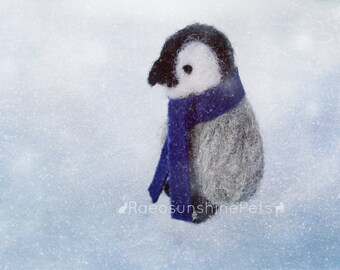 Baby Penguin Miniature, Emperor Penguin Chick, Gray Grey Penguin, Miniature Animal Artwork, Needle Felted Plush Art Doll or Ornament