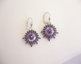 "Swarovski earrings ""Sari"" in lilac and anthracite"