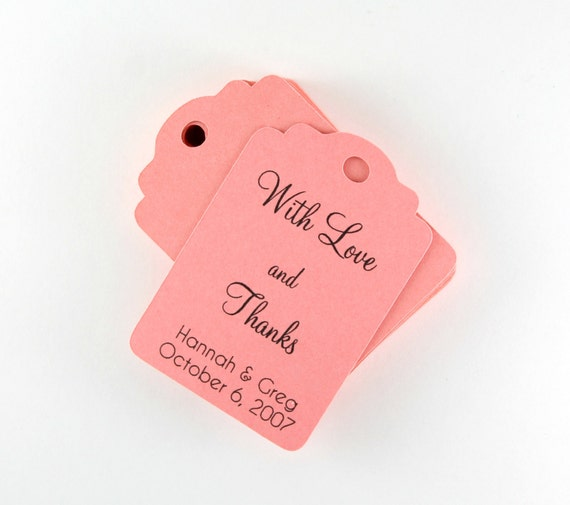 Wedding Gift Tags set of 20, Personalized Salmon Wedding Favor Tags ...