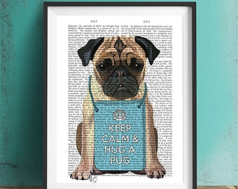 Hug a Pug Dictionary Print - Original Illustration Art Print Mixed Media Animal Painting pug illustration gift pug lover pug portrait poster