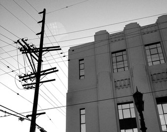 Power Lines and Art Deco Building, Los Angeles // Black and White Fine Art Photography // Square Photo Print