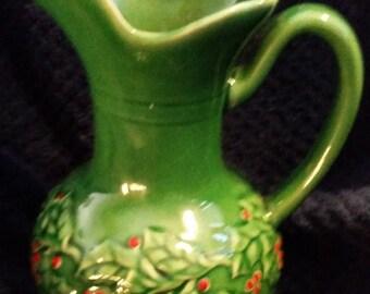 Vintage Christmas Dark Green W/Poinsetta Pitcher