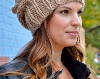 Knit Hat PATTERN, Knitting Pattern Women's Slouchy Sacking Hat Pattern, Women's Slouchy Hat Pattern, Knit Beanie Pattern, Slouchy Beanie