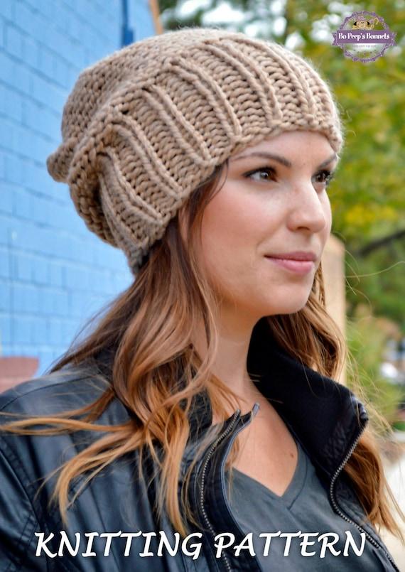 Knit Hat PATTERN Knitting Pattern Women's Slouchy Sacking