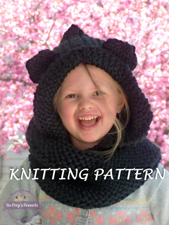 Knitting Pattern Hood With Ears : KNITTING PATTERN Hooded Cat Ears Cowl Scarf Cat Scarf