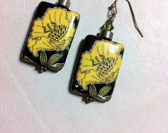 Handmade Paper Decoupage Yellow Tropical Flower Dangle Earrings with Swarovski Crystal Bicone Bead and Pyrite Rondelle