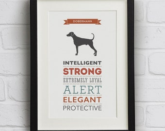 Doberman / Dobermann Dog Breed Traits Print
