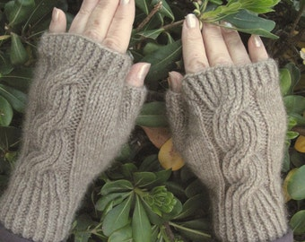 Fingerless Mitts Beige Merino Possum Blend, Natural Color, Cable Mittens, Gloves Hand Knit, Cable Fingerless Mitts,