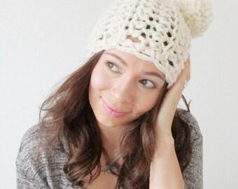 Pom Pom Beanie Womens Crochet Double Pom Pom Hat - The Minnie - in Fisherman