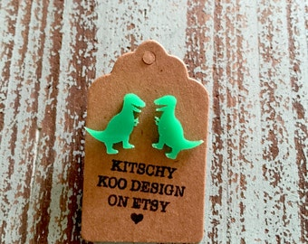 T-Rex Dinosaur Earrings. Green Acrylic Studs on Surgical Steel Posts.
