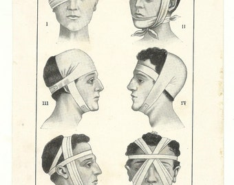 upcycled recycled repurposed head injury medical page anatomy drawing anatomical poster illustration print human body