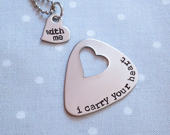 I Carry Your Heart Custom Hand Stamped Necklace, Guitar Pick Set, Engagement Gift, Wedding Present, Anniversary, Couples Set