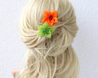 Green and Orange Organza Flower Bobby Pin Set 2 Star