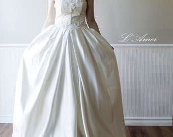Victorian Fantasy Princess Bustle Wedding Dress Ball Gown Accented with Pleats and Crystal Bead Bodice