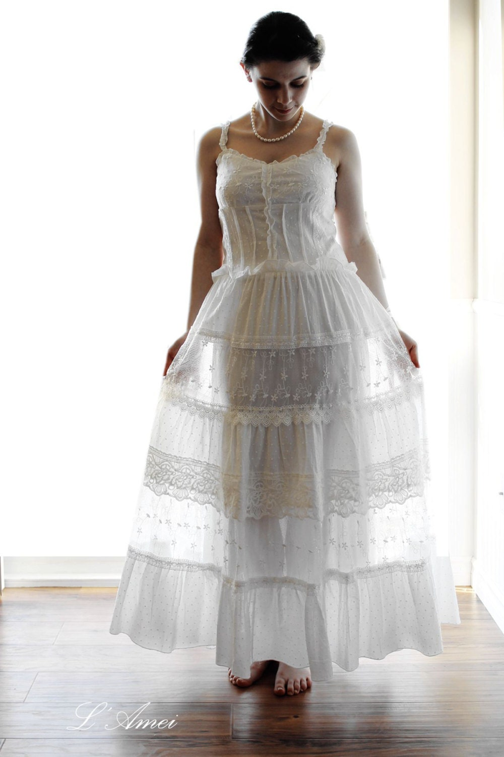 Sale simple boho organic cotton and lace wedding dress beach for Simple cotton wedding dress