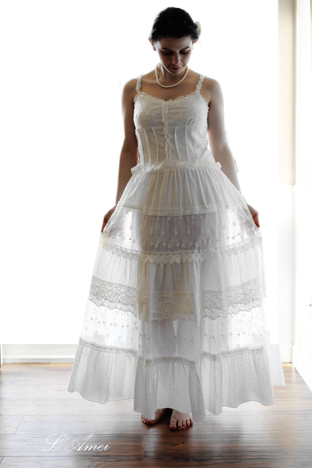 SALE Simple Boho Organic Cotton And Lace Wedding Dress Beach