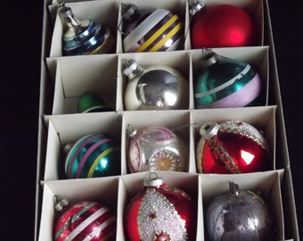Vintage, Set of Twelve Glass Ornaments