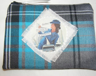 Coin Purse, change purse, Mobile Pouch, Wallet, Mini Make up Bag, Retro, Vintage, Tartan,retro Housewife, Handmade,money wallet,fabric purse