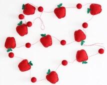 Apple Garland, Teacher Gift, Teacher Appreciation, Teacher Graduation, Red, Apple Party, Felt Garland, Classroom Decor, Educator Gift