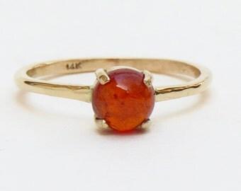 orange garnet ring, hessonite garnet in 14k gold ring , garnet stacking ring, 4 prong gemstone ring