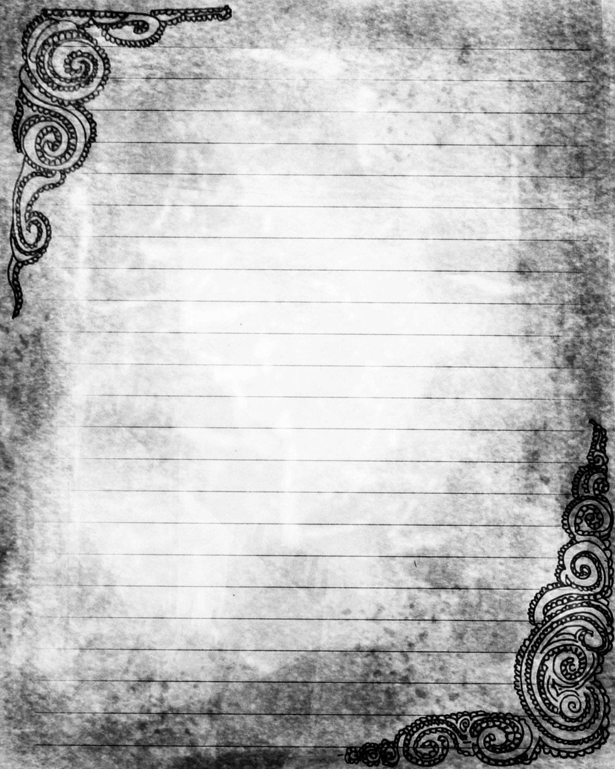 Printable Journal Page Swirls Black Grey Lined Stationery 8 – Lined Stationary Template