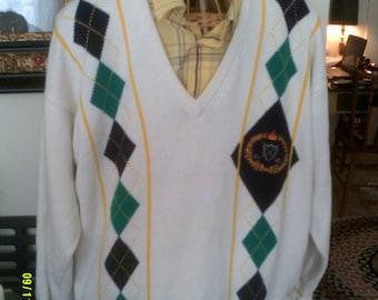 Mens Cotton Argyle V Neck Golf Sweater, size XL, By Pringle of Scotland, Mens Golf Sweater, Mens Pringle Sweater, Cotton Argyle Sweater
