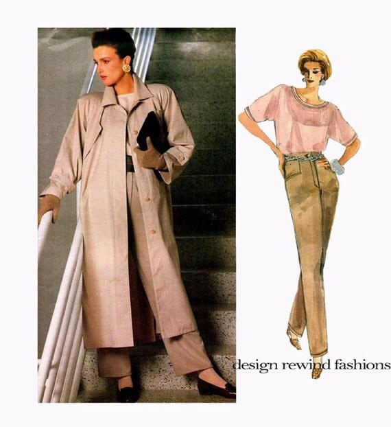 1980s VOGUE COAT PATTERN Trench Coat Top & Pants Pattern Geoffrey Beene Vogue 1773 American Designer Womens Sewing Patterns UNCuT Size 16