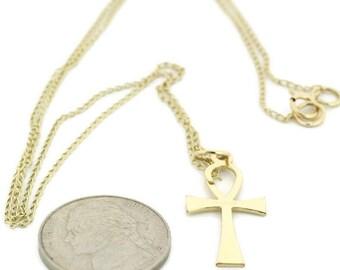 Ankh Yellow Gold Cross, Medium, 9ct, Ankh Pendant, UK-9ct  Gold curb chain, Handmade