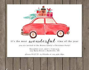 Printable Christmas Party Invitation - the Merrily Along Collection