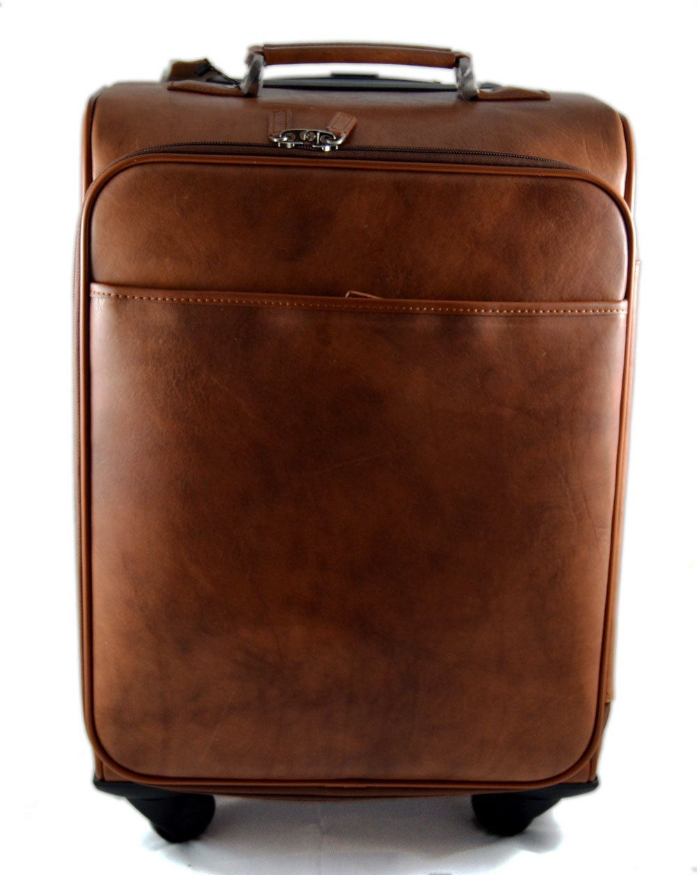 Leather trolley travel bag weekender overnight leather bag