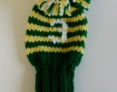 HAND KNIT Retro Golf Club HeadCover 10 inches with stripes and numbers, pompoms. This head cover fits woods and hybrids