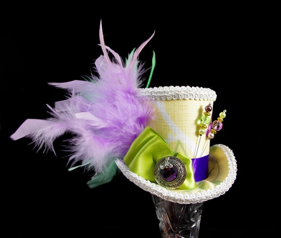 Yellow, Green, Purple, and White Spring Medium Mini Top Hat Fascinator, Alice in Wonderland, Mad Hatter Tea Party, Derby Hat