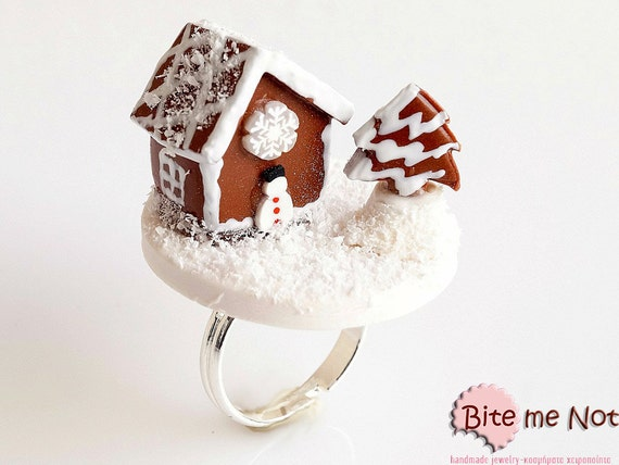 Mini Food Gingerbread House Ring, Miniature Food Jewelry, Christmas Jewelry, Polymer Clay Ring, Mini Sweets, Kawaii Jewelry, BF Sale