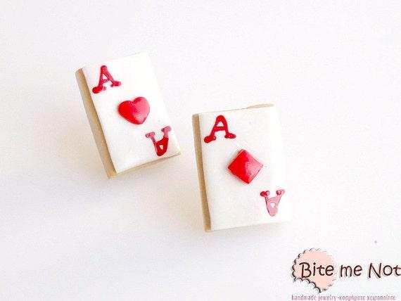 Alice in Wonderland Playing Cards Stud Earrings, Biscuit Studs, Mini Cards Cookies, Kawaii Jewelry, Cute Jewelry, Mini Food