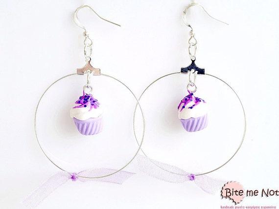 Glitter Lilac Cupcakes, Polymer Clay Food Earrings, Cupcake Jewelry, Miniature Food Jewelry, Kawaii Jewelry,Polymer Clay Sweets
